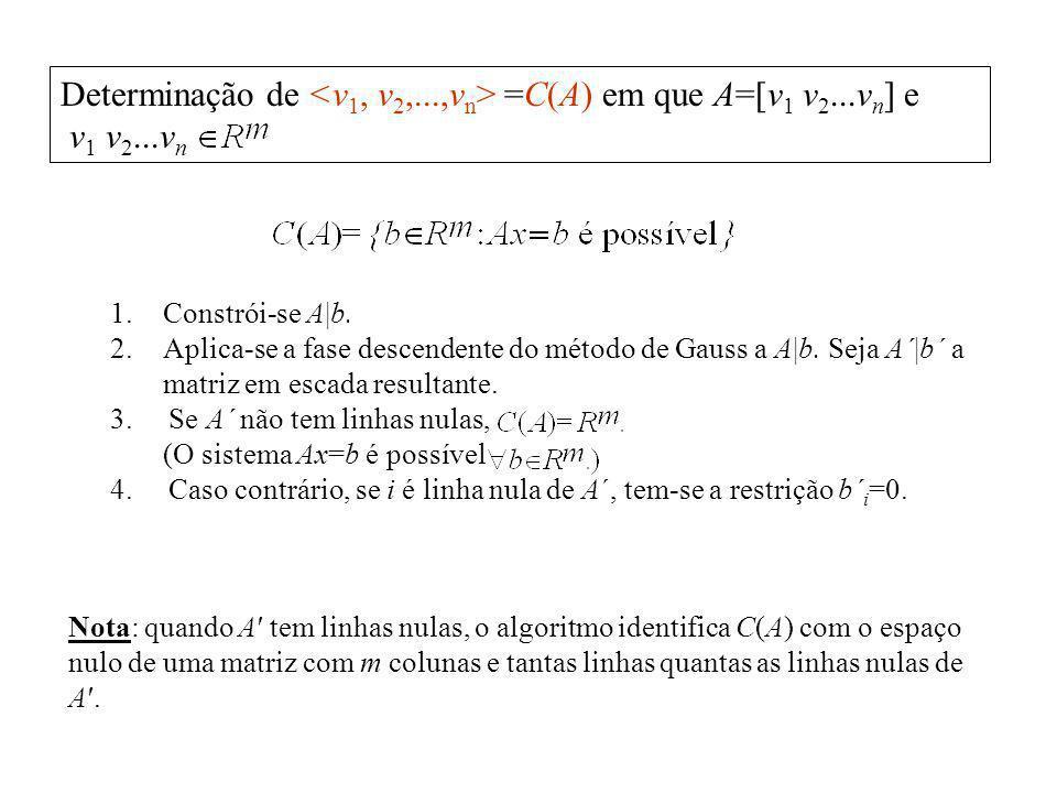 Determinação de <v1, v2,...,vn> =C(A) em que A=[v1 v2...vn] e